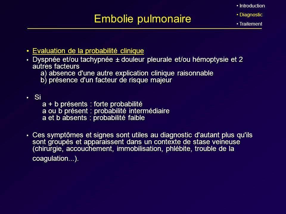 Embolie pulmonaire Evaluation de la probabilité clinique Dyspnée et/ou tachypnée ± douleur pleurale et/ou hémoptysie et 2 autres facteurs a) absence d