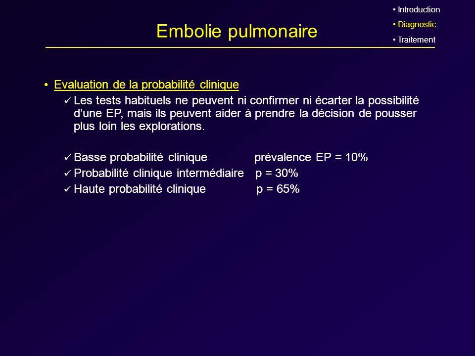 Embolie pulmonaire Evaluation de la probabilité clinique Les tests habituels ne peuvent ni confirmer ni écarter la possibilité dune EP, mais ils peuve