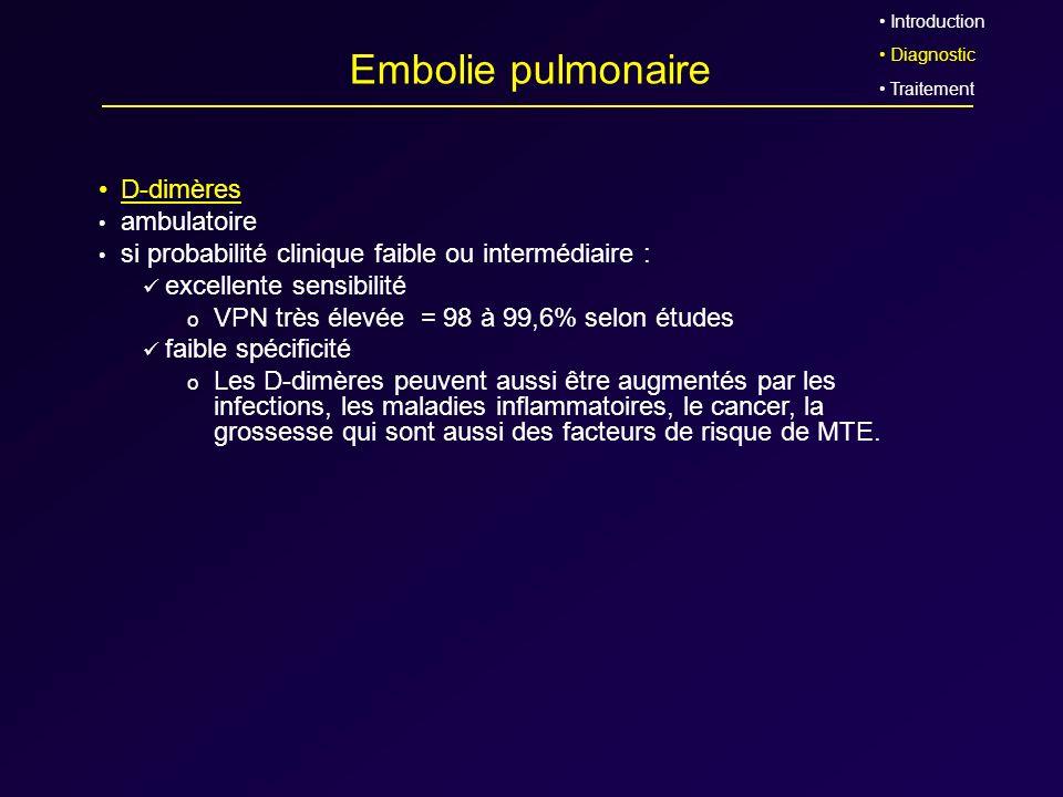 Embolie pulmonaire D-dimères ambulatoire si probabilité clinique faible ou intermédiaire : excellente sensibilité o VPN très élevée = 98 à 99,6% selon
