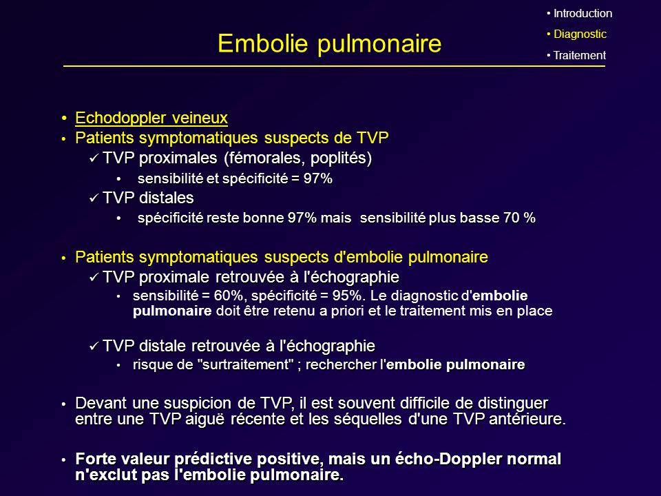 Embolie pulmonaire Echodoppler veineux Patients symptomatiques suspects de TVP TVP proximales (fémorales, poplités) TVP proximales (fémorales, poplité