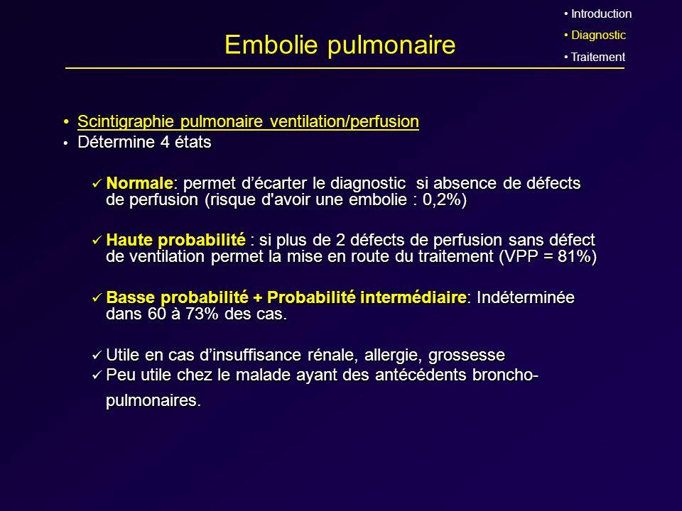 Embolie pulmonaire Scintigraphie pulmonaire ventilation/perfusion Détermine 4 états Détermine 4 états Normale: permet décarter le diagnostic si absenc