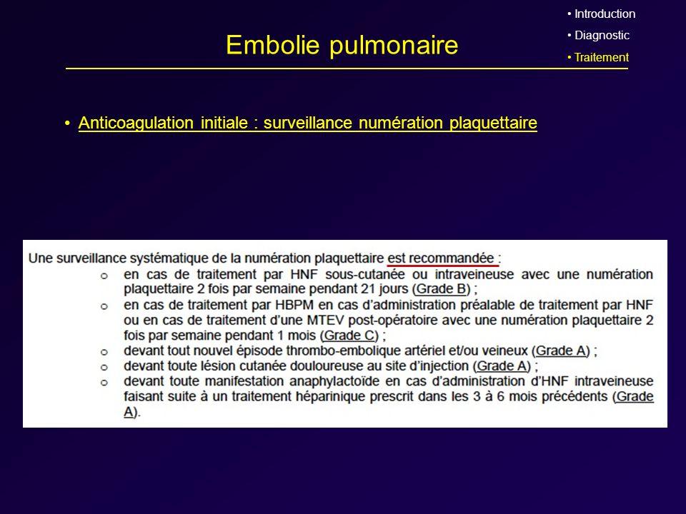 Embolie pulmonaire Anticoagulation initiale : surveillance numération plaquettaire Introduction Diagnostic Traitement