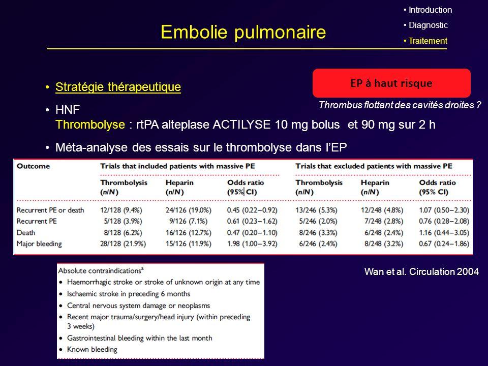 Embolie pulmonaire Stratégie thérapeutique HNF Thrombolyse : rtPA alteplase ACTILYSE 10 mg bolus et 90 mg sur 2 h Méta-analyse des essais sur le throm