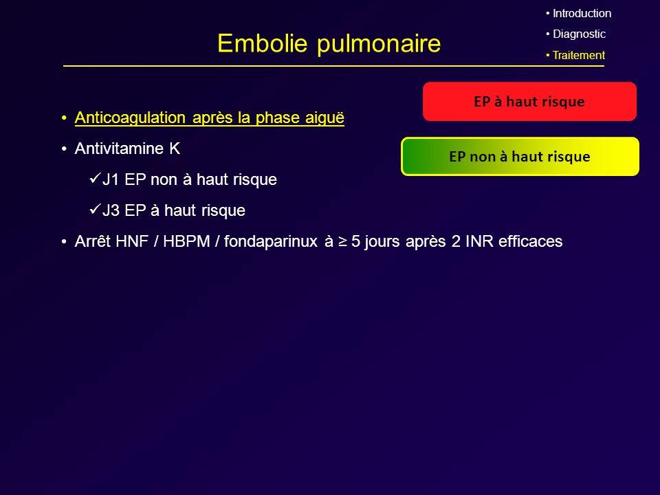 Embolie pulmonaire Anticoagulation après la phase aiguë Antivitamine K J1 EP non à haut risque J3 EP à haut risque Arrêt HNF / HBPM / fondaparinux à 5