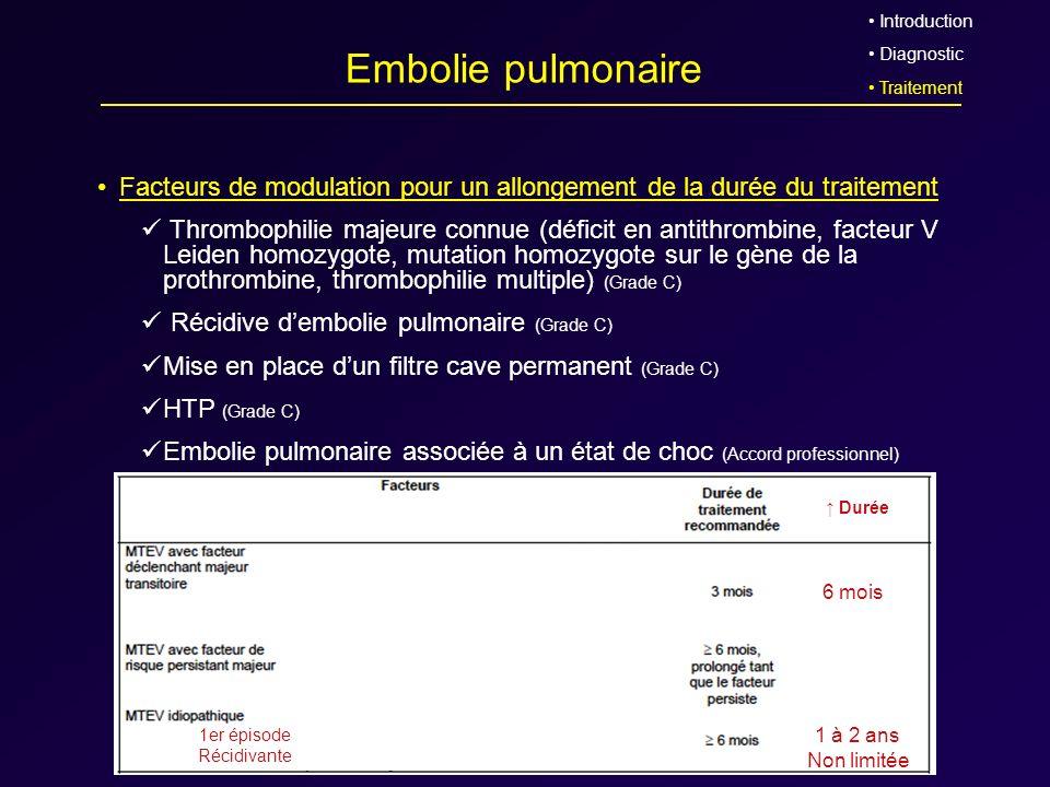 Embolie pulmonaire Facteurs de modulation pour un allongement de la durée du traitement Thrombophilie majeure connue (déficit en antithrombine, facteu