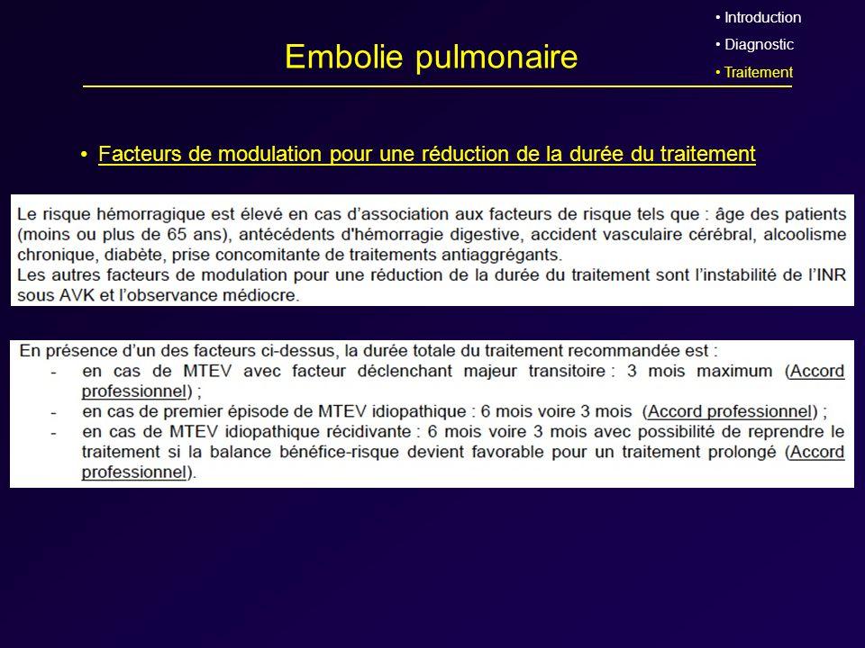 Embolie pulmonaire Facteurs de modulation pour une réduction de la durée du traitement Introduction Diagnostic Traitement