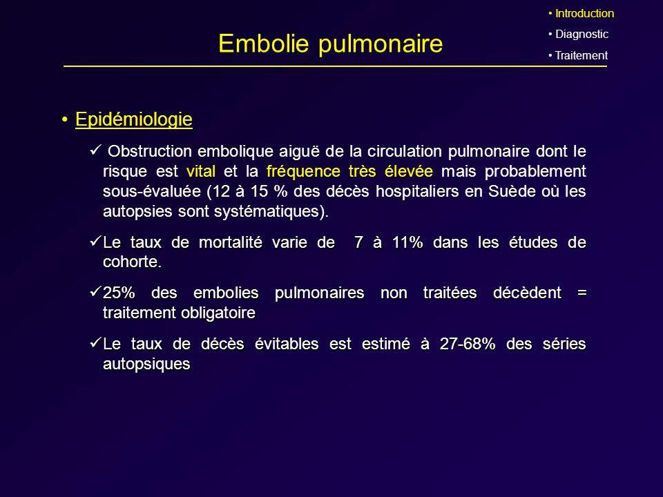 Embolie pulmonaire Epidémiologie Obstruction embolique aiguë de la circulation pulmonaire dont le risque est vital et la fréquence très élevée mais pr