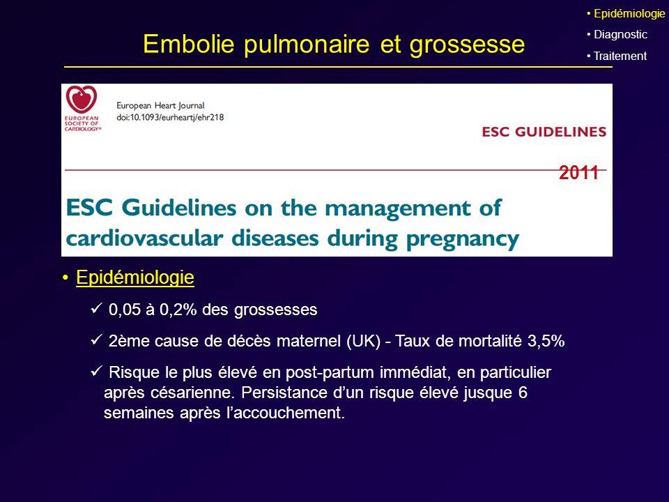 Embolie pulmonaire et grossesse Epidémiologie 0,05 à 0,2% des grossesses 2ème cause de décès maternel (UK) - Taux de mortalité 3,5% Risque le plus éle
