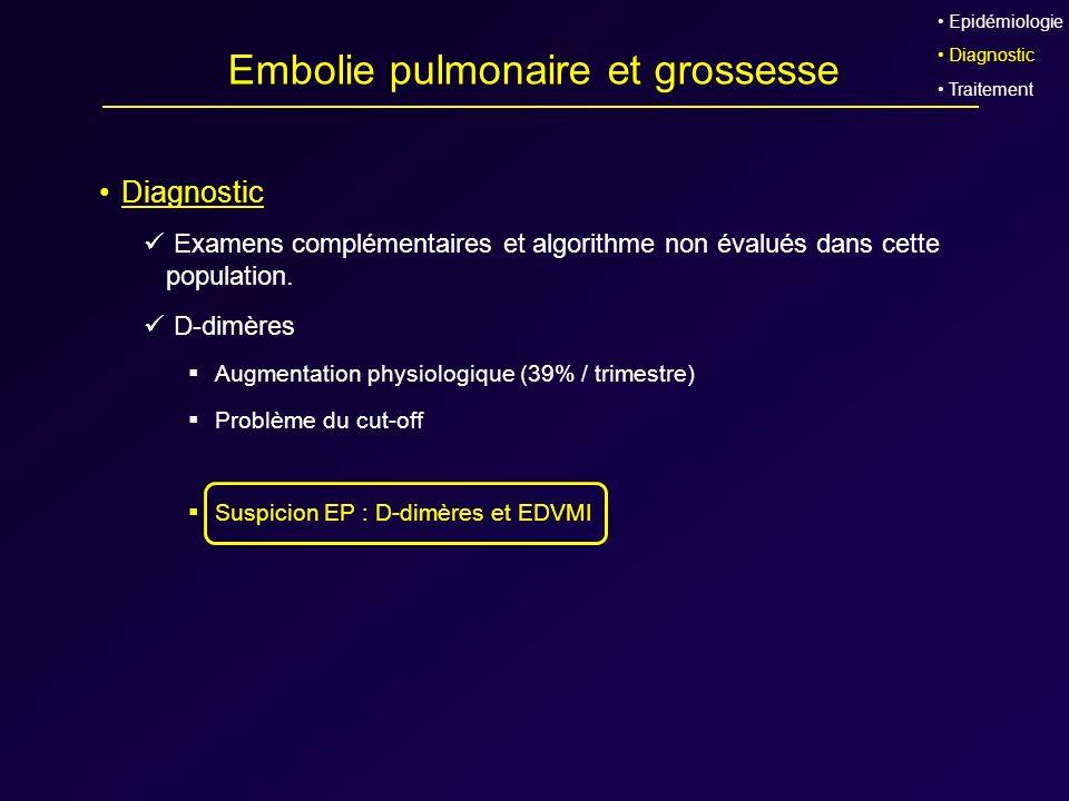 Embolie pulmonaire et grossesse Diagnostic Examens complémentaires et algorithme non évalués dans cette population. D-dimères Augmentation physiologiq