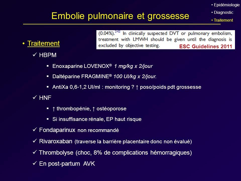 Embolie pulmonaire et grossesse Traitement HBPM Enoxaparine LOVENOX ® 1 mg/kg x 2/jour Daltéparine FRAGMINE ® 100 UI/kg x 2/jour. AntiXa 0,6-1,2 UI/ml