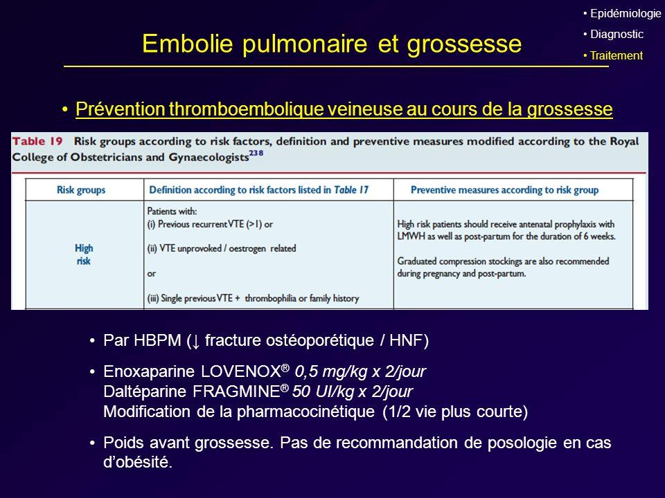 Embolie pulmonaire et grossesse Prévention thromboembolique veineuse au cours de la grossesse Par HBPM ( fracture ostéoporétique / HNF) Enoxaparine LO