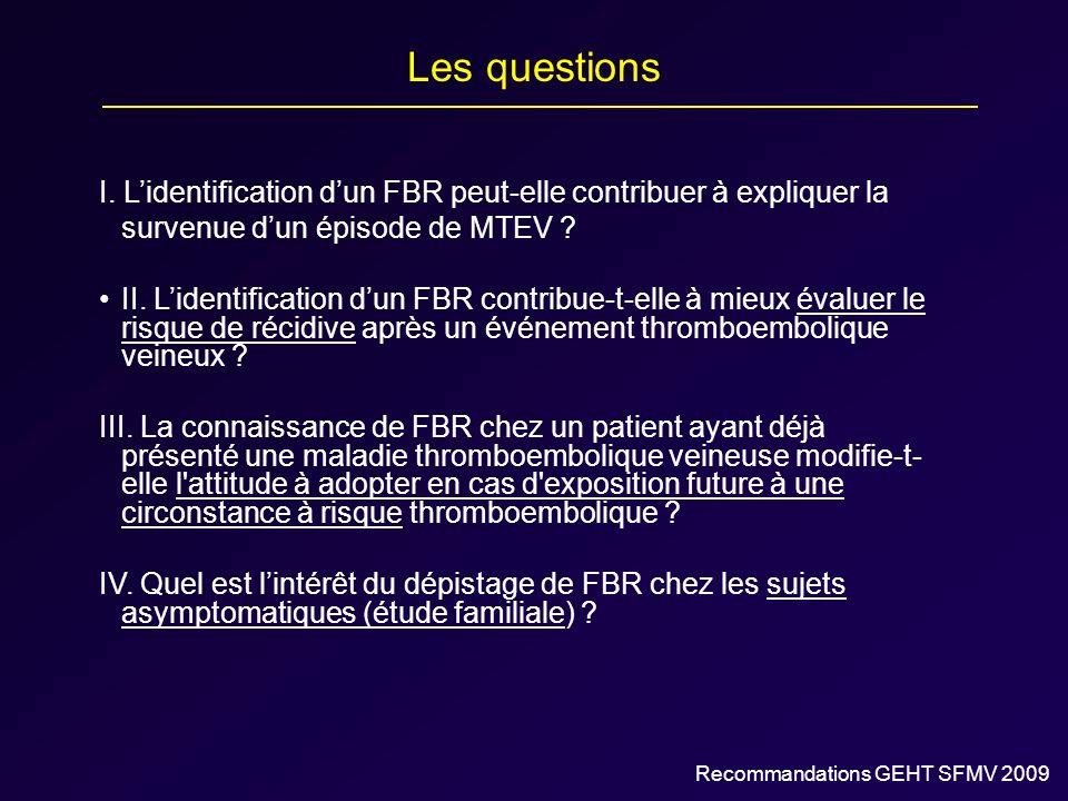 Les questions I. Lidentification dun FBR peut-elle contribuer à expliquer la survenue dun épisode de MTEV ? II. Lidentification dun FBR contribue-t-el