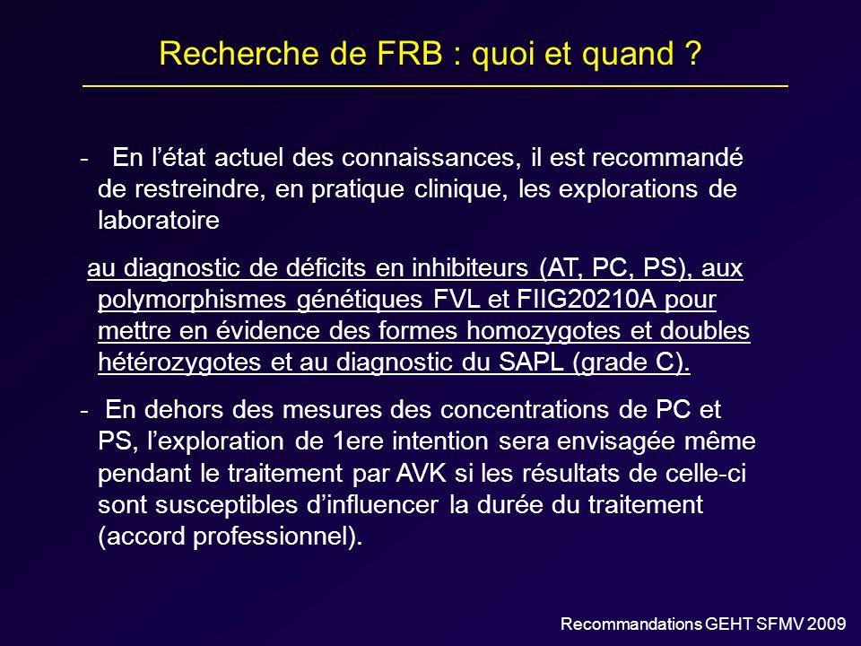 Recherche de FRB : quoi et quand ? - En létat actuel des connaissances, il est recommandé de restreindre, en pratique clinique, les explorations de la