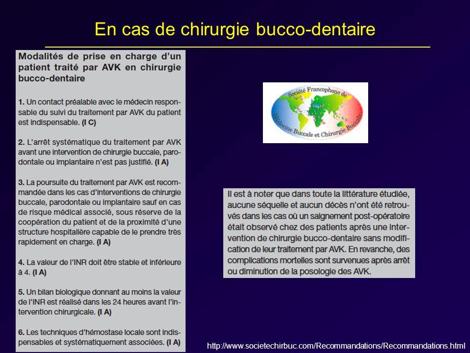 http://www.societechirbuc.com/Recommandations/Recommandations.html En cas de chirurgie bucco-dentaire