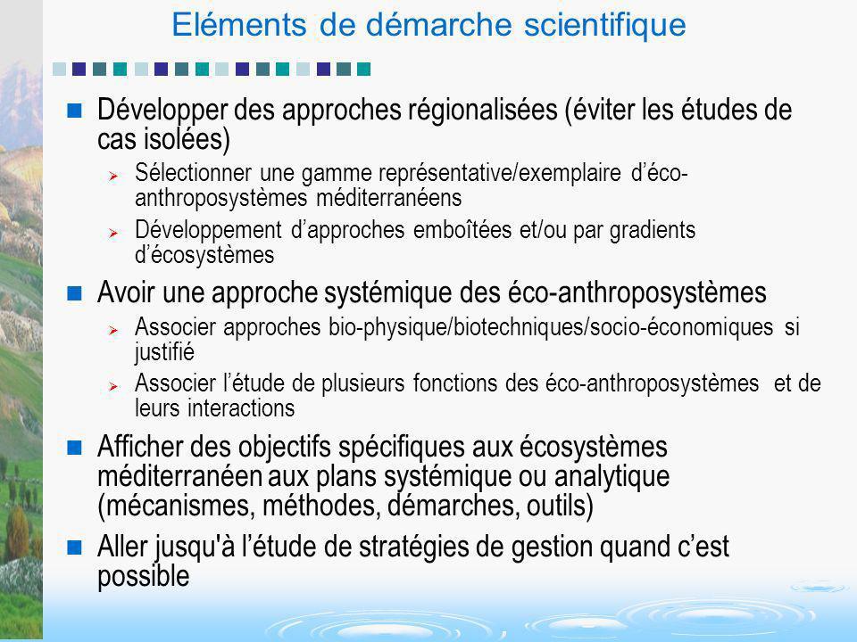 Eléments de démarche scientifique Développer des approches régionalisées (éviter les études de cas isolées) Sélectionner une gamme représentative/exem