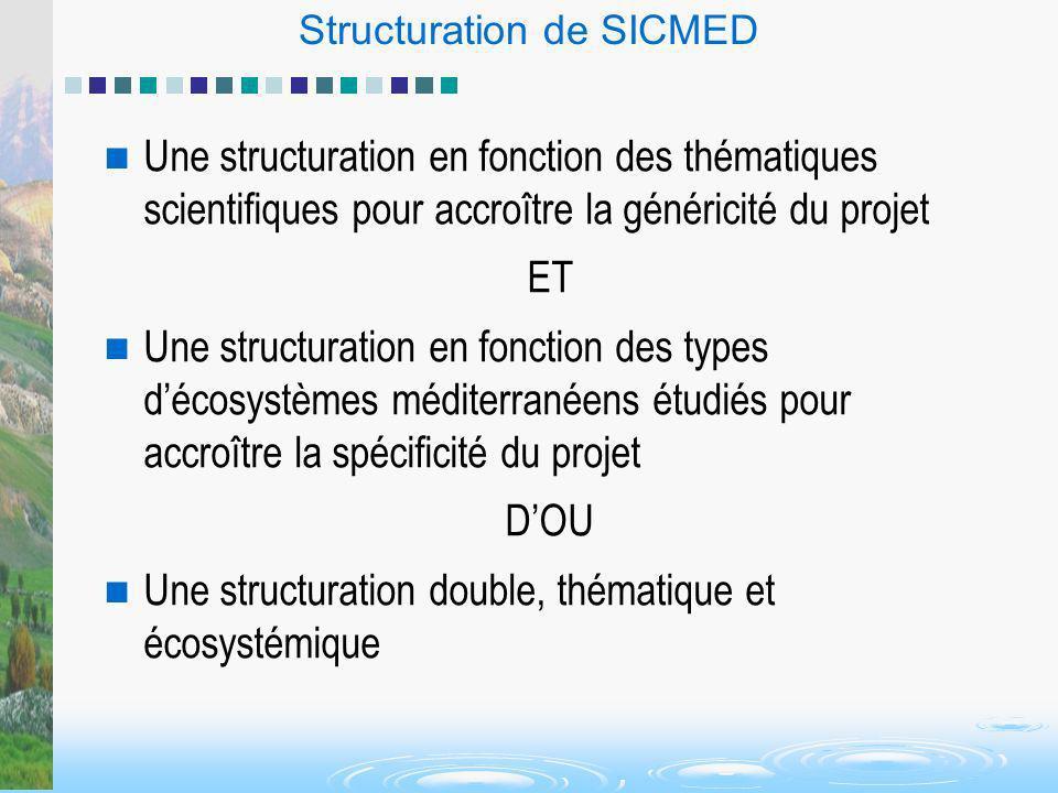 Structuration de SICMED Une structuration en fonction des thématiques scientifiques pour accroître la généricité du projet ET Une structuration en fon