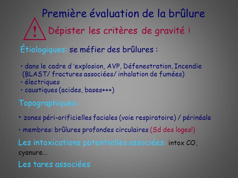 Première évaluation de la brûlure Les intoxications potentielles associées: intox CO, cyanure... Topographiques: zones péri-orificielles faciales (voi