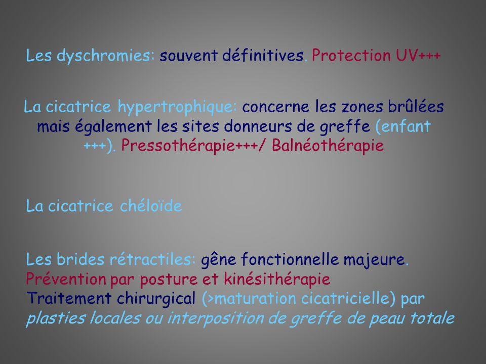 Les dyschromies: souvent définitives. Protection UV+++ La cicatrice hypertrophique: concerne les zones brûlées mais également les sites donneurs de gr