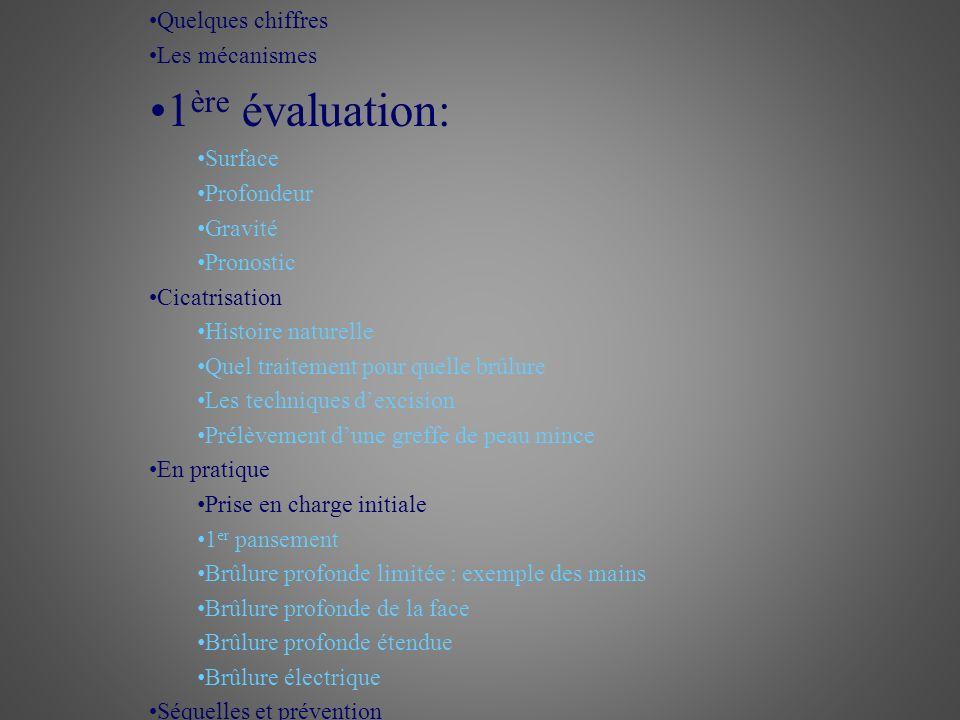 Première évaluation de la brûlure Surface % de surface corporelle totale Règle des 9 de Wallace Paume = 1% Enfant: Tête = + 9% La gravité de la brûlure est proportionnelle à sa surface Hospitalisation en milieu spécialisé pour SB> 10%SCT chez lenfant et SB > 15-20% SCT chez ladulte