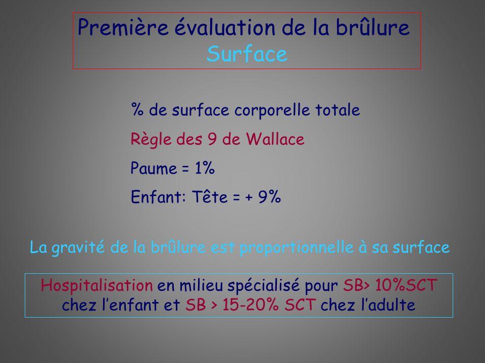 Première évaluation de la brûlure Surface % de surface corporelle totale Règle des 9 de Wallace Paume = 1% Enfant: Tête = + 9% La gravité de la brûlur