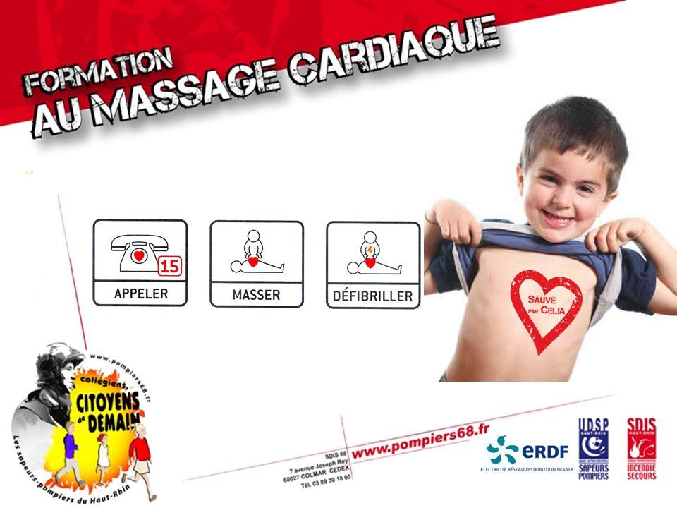 FAIRE le massage cardiaque Le talon de la main au centre de la poitrine Comprimer vite et fort la poitrine Relâcher complètement la poitrine après chaque compression
