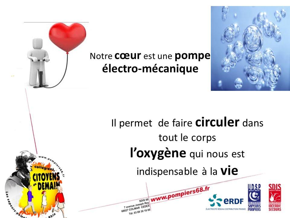Notre cœur est une pompe électro-mécanique Il permet de faire circuler dans tout le corps loxygène qui nous est indispensable à la vie
