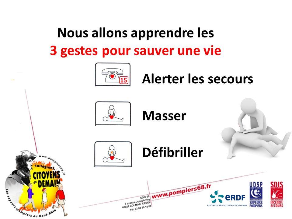 Nous allons apprendre les 3 gestes pour sauver une vie Alerter les secours Masser Défibriller