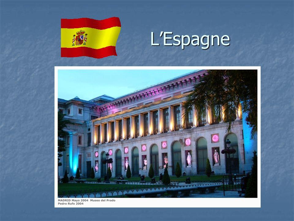 Généralités Intitulé officiel : Espagne Intitulé officiel : Espagne Superficie : 504 782 Km² Superficie : 504 782 Km² Population : 43 millions d habitants Population : 43 millions d habitants Capitale : Madrid (3 millions d habitants) Capitale : Madrid (3 millions d habitants) Peuples : Espagnols (les Catalans et les Basques revendiquent farouchement leur identité culturelle) Peuples : Espagnols (les Catalans et les Basques revendiquent farouchement leur identité culturelle) Langues : castillan (mais aussi catalan, galicien et basque) Langues : castillan (mais aussi catalan, galicien et basque) Religion : 99% de catholiques romains Religion : 99% de catholiques romains Institutions politiques : monarchie constitutionnelle Institutions politiques : monarchie constitutionnelle Premier ministre : Luis Rodriguez Zapatero Premier ministre : Luis Rodriguez Zapatero