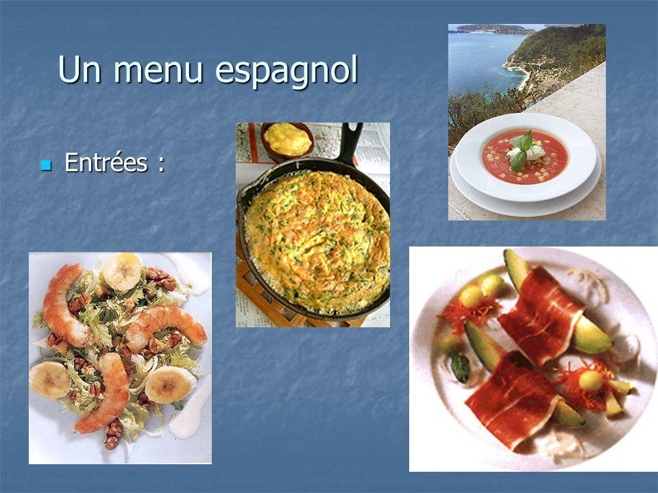 Un menu espagnol Entrées : Entrées :