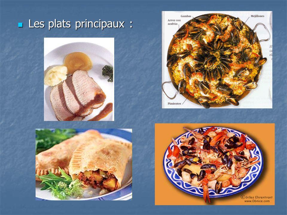 Les plats principaux : Les plats principaux :