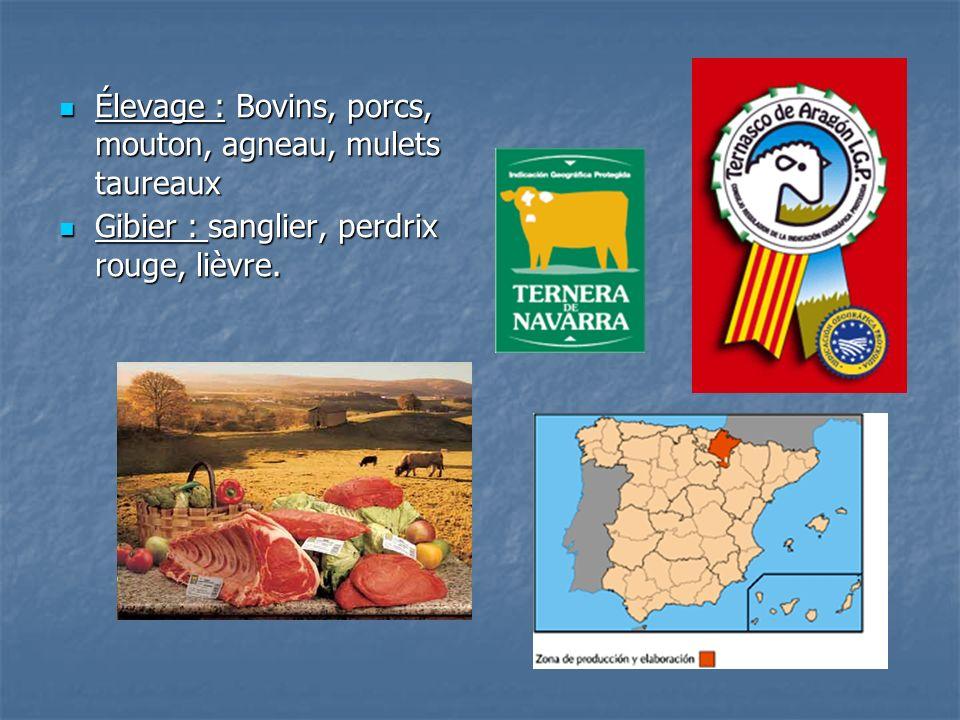 Élevage : Bovins, porcs, mouton, agneau, mulets taureaux Élevage : Bovins, porcs, mouton, agneau, mulets taureaux Gibier : sanglier, perdrix rouge, li