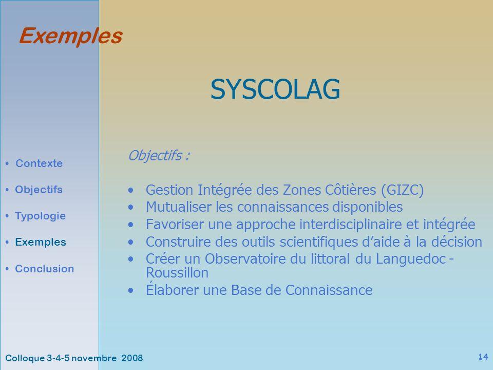 Colloque 3-4-5 novembre 2008 14 Exemples Contexte Objectifs Typologie Exemples Conclusion SYSCOLAG Objectifs : Gestion Intégrée des Zones Côtières (GIZC) Mutualiser les connaissances disponibles Favoriser une approche interdisciplinaire et intégrée Construire des outils scientifiques daide à la décision Créer un Observatoire du littoral du Languedoc - Roussillon Élaborer une Base de Connaissance