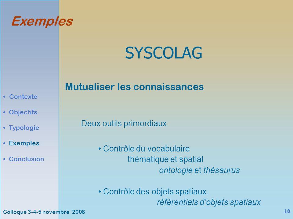 Colloque 3-4-5 novembre 2008 18 Exemples Contexte Objectifs Typologie Exemples Conclusion SYSCOLAG Contrôle du vocabulaire thématique et spatial ontologie et thésaurus Contrôle des objets spatiaux référentiels dobjets spatiaux Mutualiser les connaissances Deux outils primordiaux
