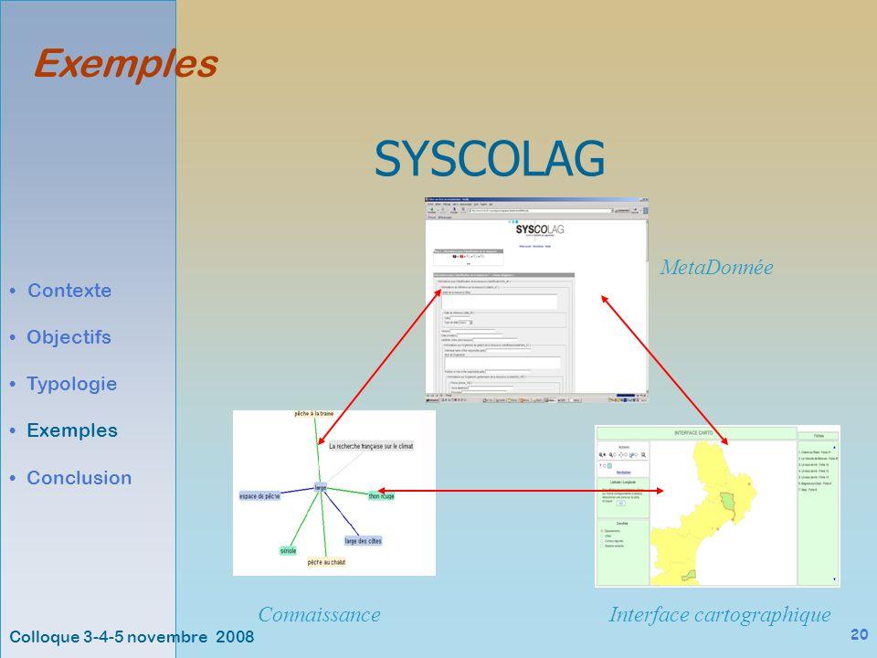 Colloque 3-4-5 novembre 2008 20 Exemples Contexte Objectifs Typologie Exemples Conclusion SYSCOLAG ConnaissanceInterface cartographique MetaDonnée