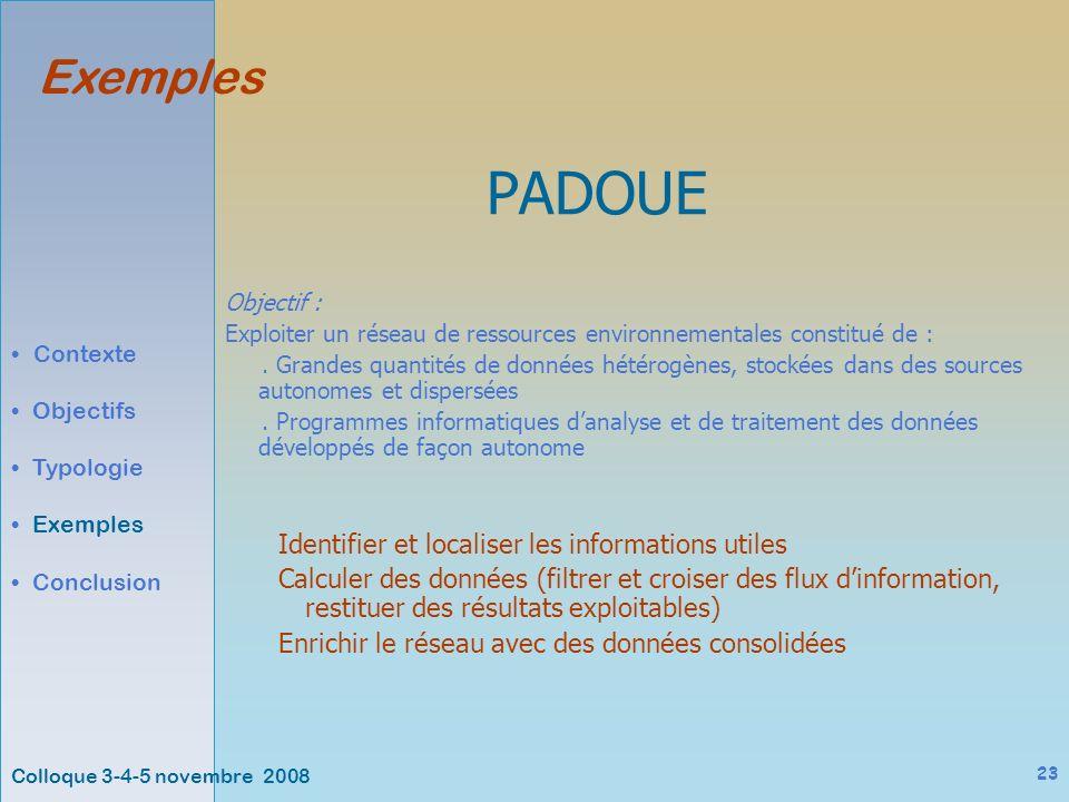 Colloque 3-4-5 novembre 2008 23 Exemples Contexte Objectifs Typologie Exemples Conclusion PADOUE Objectif : Exploiter un réseau de ressources environnementales constitué de :.