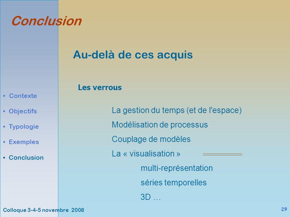 Colloque 3-4-5 novembre 2008 29 Au-delà de ces acquis La gestion du temps (et de l espace) Modélisation de processus Couplage de modèles La « visualisation » multi-représentation séries temporelles 3D … Conclusion Contexte Objectifs Typologie Exemples Conclusion Les verrous