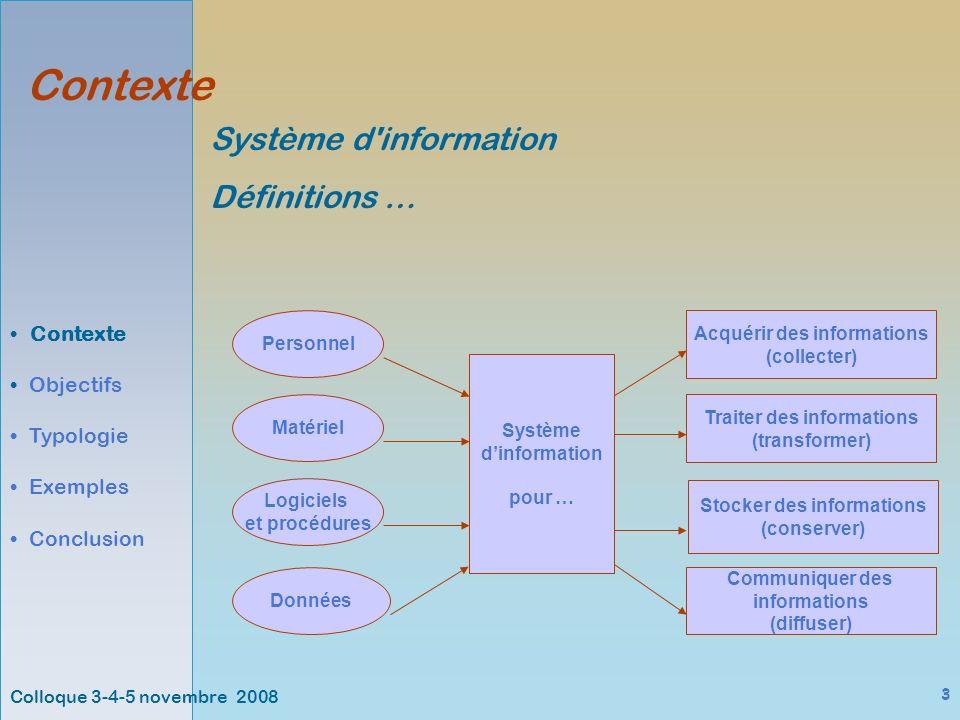 3 Contexte Objectifs Typologie Exemples Conclusion Système d information Définitions … Système dinformation pour … Personnel Matériel Logiciels et procédures Données Acquérir des informations (collecter) Traiter des informations (transformer) Stocker des informations (conserver) Communiquer des informations (diffuser)