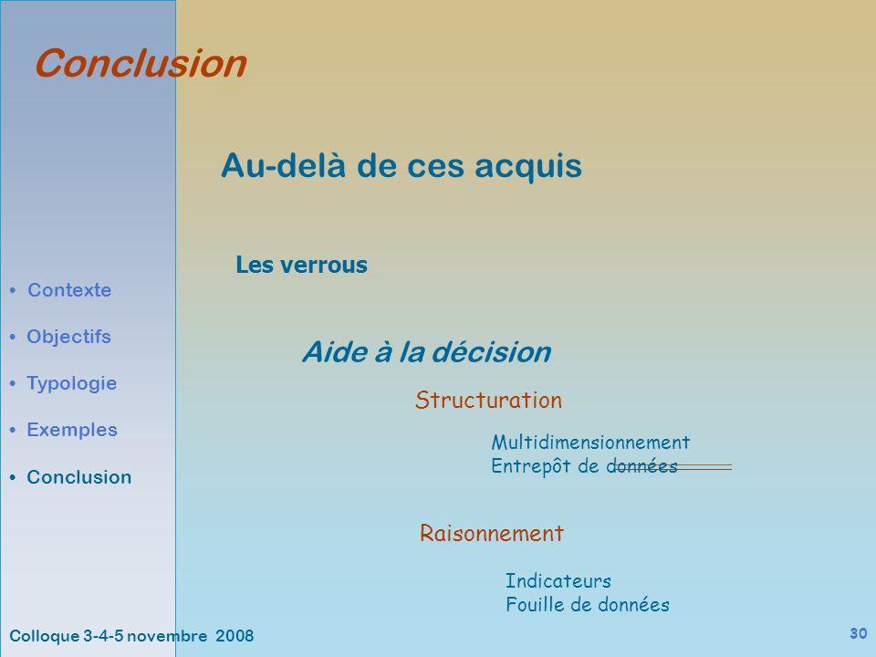 Colloque 3-4-5 novembre 2008 30 Au-delà de ces acquis Conclusion Contexte Objectifs Typologie Exemples Conclusion Les verrous Aide à la décision Multidimensionnement Entrepôt de données Structuration Raisonnement Indicateurs Fouille de données