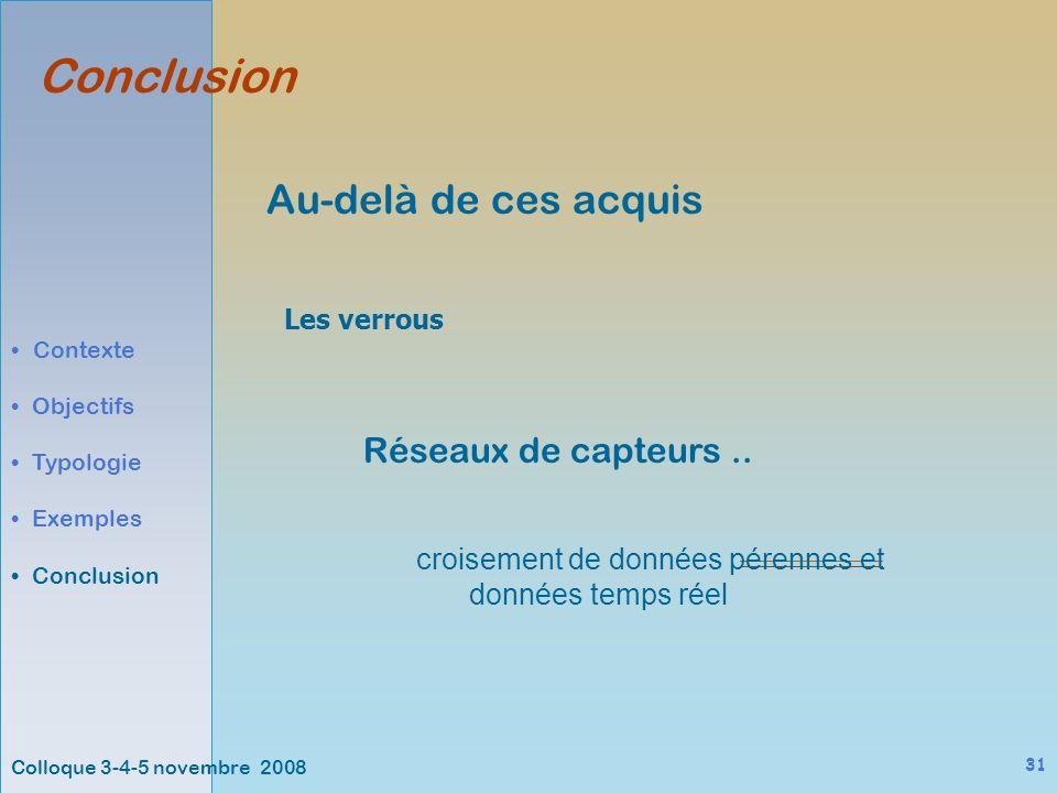 Colloque 3-4-5 novembre 2008 31 Au-delà de ces acquis Conclusion Contexte Objectifs Typologie Exemples Conclusion Les verrous Réseaux de capteurs..