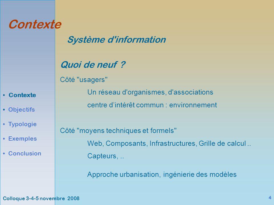 Colloque 3-4-5 novembre 2008 4 Contexte Objectifs Typologie Exemples Conclusion Système d information Quoi de neuf .