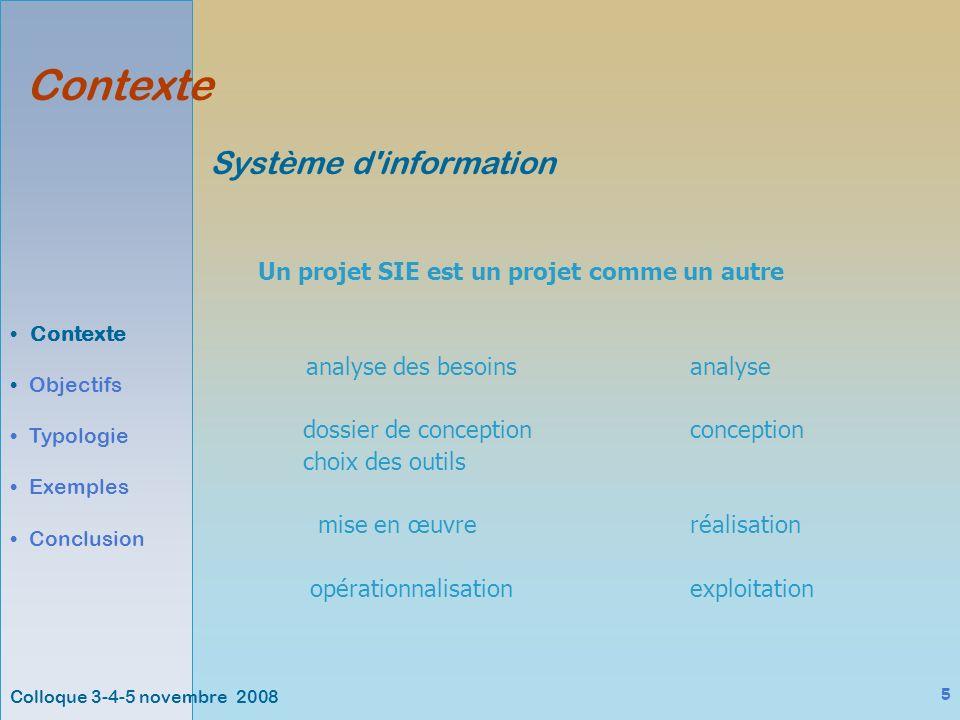 Colloque 3-4-5 novembre 2008 16 Exemples Contexte Objectifs Typologie Exemples Conclusion SYSCOLAG