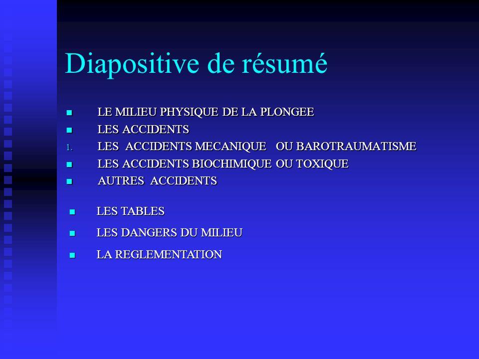 Diapositive de résumé LE MILIEU PHYSIQUE DE LA PLONGEE LE MILIEU PHYSIQUE DE LA PLONGEE LES ACCIDENTS LES ACCIDENTS 1.