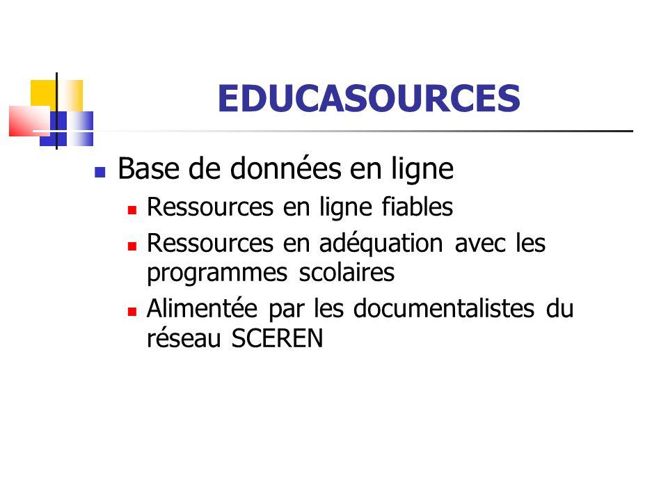 EDUCASOURCES A travers Numéribase ( Educasources étant une application particulière de Numéribase), c est un modèle de description des ressources numériques en ligne compatibles avec les normes et standards de métadonnées (Dublin Core, LOM, LOMfr)