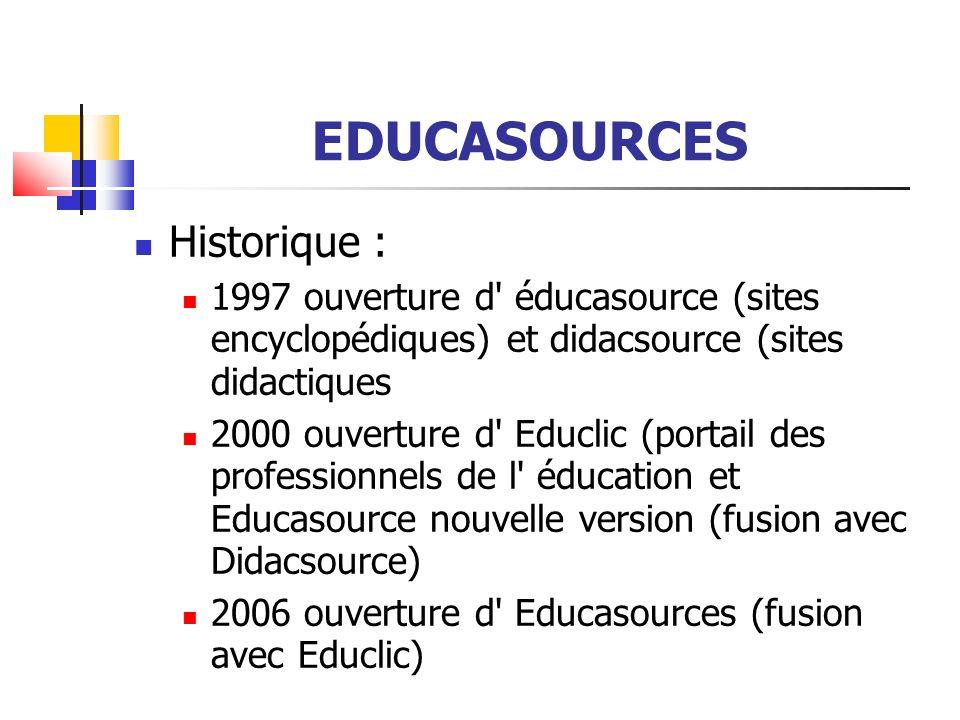 EDUCASOURCES Educasource n est pas un moteur de recherche, il n indexe pas automatiquement les millions de pages de l internet Les ressources sont sélectionnées, décrites par les équipes des CRDP/CDDP et validées par des administrateurs académiques
