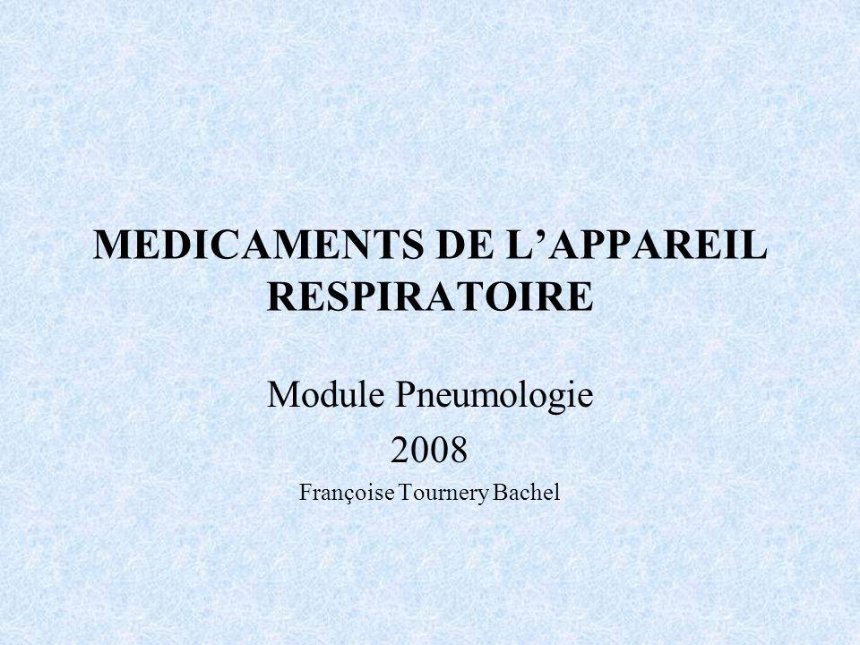 MEDICAMENTS DE LAPPAREIL RESPIRATOIRE Module Pneumologie 2008 Françoise Tournery Bachel