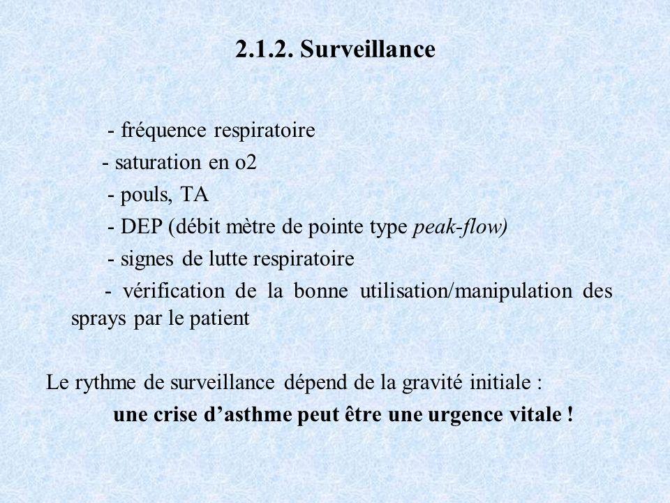 2.1.2. Surveillance - fréquence respiratoire - saturation en o2 - pouls, TA - DEP (débit mètre de pointe type peak-flow) - signes de lutte respiratoir