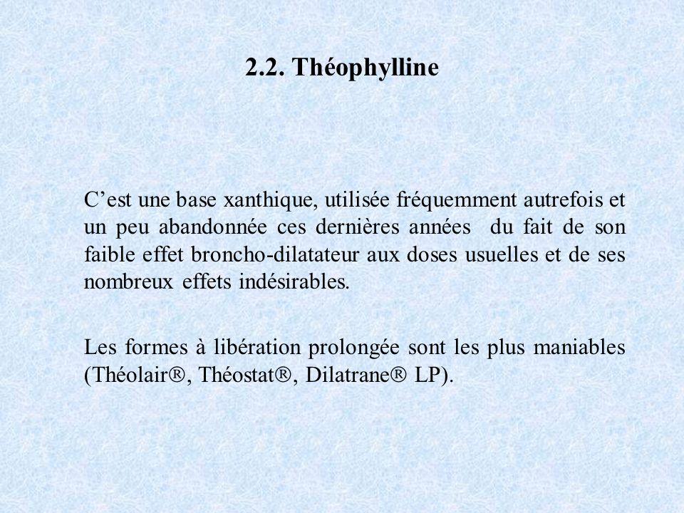 2.2. Théophylline Cest une base xanthique, utilisée fréquemment autrefois et un peu abandonnée ces dernières années du fait de son faible effet bronch