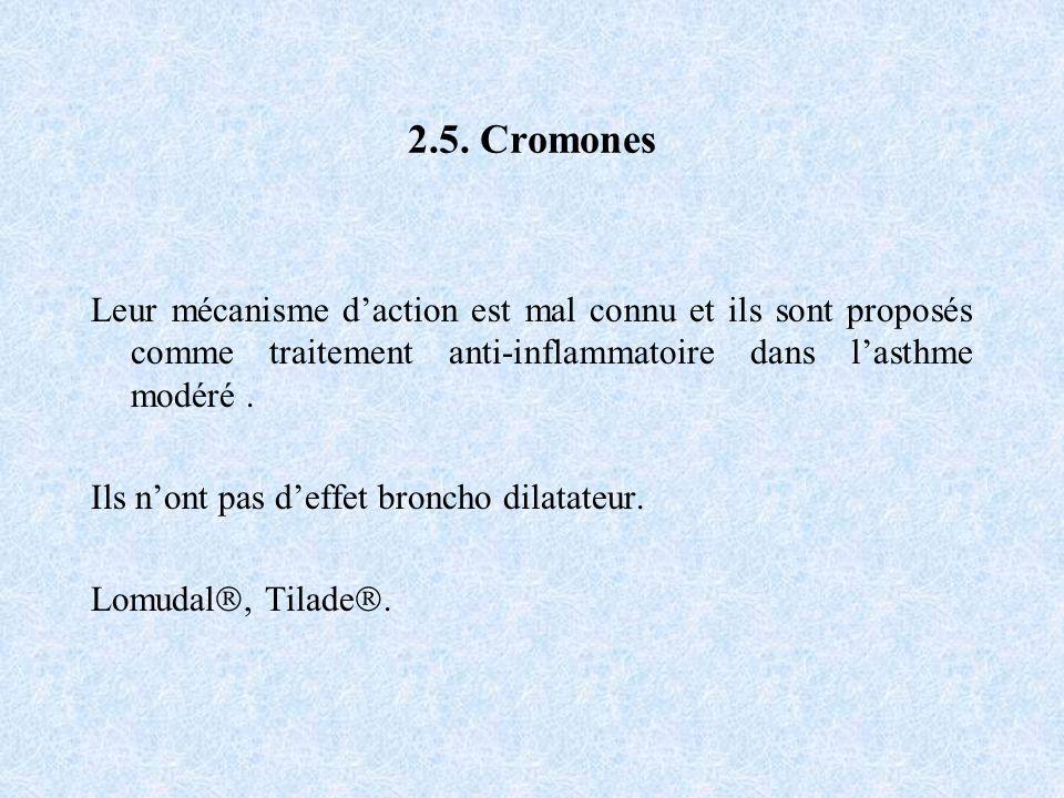 2.5. Cromones Leur mécanisme daction est mal connu et ils sont proposés comme traitement anti-inflammatoire dans lasthme modéré. Ils nont pas deffet b