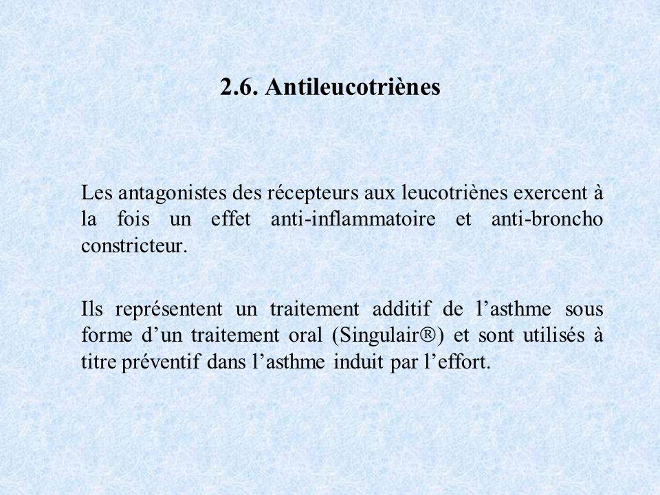 2.6. Antileucotriènes Les antagonistes des récepteurs aux leucotriènes exercent à la fois un effet anti-inflammatoire et anti-broncho constricteur. Il