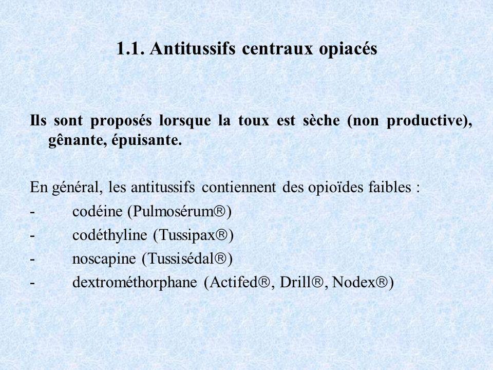 1.1. Antitussifs centraux opiacés Ils sont proposés lorsque la toux est sèche (non productive), gênante, épuisante. En général, les antitussifs contie